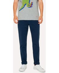Paul Smith - Slim-Fit Washed Navy Stretch Pima-Cotton Chinos - Lyst