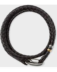 Paul Smith - Dark Brown Leather Wrap Bracelet - Lyst