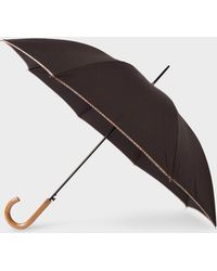 Paul Smith - Black Signature Stripe Border Walker Umbrella With Wooden Handle - Lyst