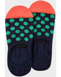 Paul Smith - Dark Navy Loafer Socks With Green Polka Dots - Lyst