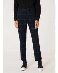 Paul Smith - Slim-Fit Blackwatch Tartan Wool-Blend Trousers - Lyst