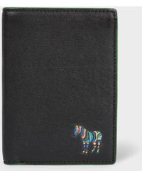 Paul Smith - Black 'zebra' Appliqué Leather Credit Card Wallet - Lyst
