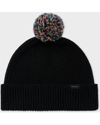Paul Smith - Black Pom-Pom Wool Beanie Hat - Lyst