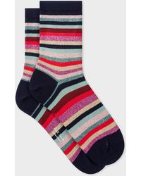 Paul Smith Navy Glitter 'swirl Stripe' Socks