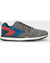 Paul Smith - Men's Grey Mélange 'rappid' Knitted Trainers - Lyst