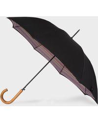 Paul Smith - Parapluie Droit Noir Canopée 'Signature Stripe' Et Pommeau En Bois - Lyst