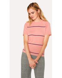 Paul Smith - Pink Stripe Cotton Short-Sleeve Sweater - Lyst