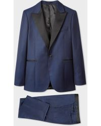 Paul Smith - The Soho - Men's Tailored-fit Blue Micro Check Evening Suit - Lyst