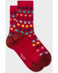 Paul Smith - Red Polka Dot Semi-Sheer Socks - Lyst