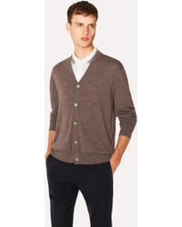 Paul Smith - Taupe Merino Wool Cardigan With Contrast Internal Trims - Lyst
