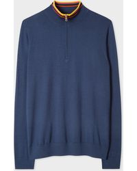 Paul Smith - Slate Blue Funnel Neck Merino Wool Half-Zip Jumper With 'Artist Stripe' Collar - Lyst