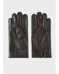 Paul Smith - Gants 'Concertina' Marron En Cuir - Lyst