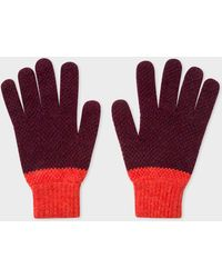 Paul Smith - Burgundy Cable Knit Wool Gloves - Lyst