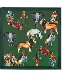 Paul Smith - Green 'Safari Animals' Print Silk Pocket Square - Lyst