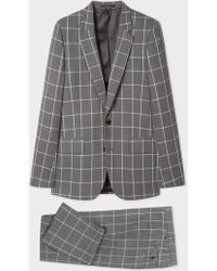 Paul Smith - The Soho - Tailored-Fit Grey Loro Piana Windowpane Check Wool Suit - Lyst
