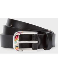 Paul Smith - Black 'swirl' Buckle Leather Belt - Lyst