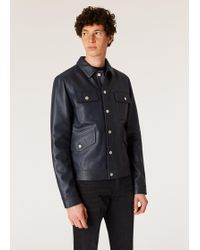 Paul Smith - Navy Leather Rider Jacket - Lyst
