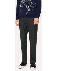 Paul Smith - Dark Green Wool-Hopsack Drawstring Trousers - Lyst