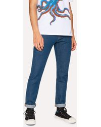 Paul Smith - Slim-Standard 12.5oz 'Rigid Western Twill' Jeans With Patches - Lyst