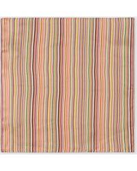 Paul Smith - Pochette De Costume En Soie À Rayures Multicolores - Lyst