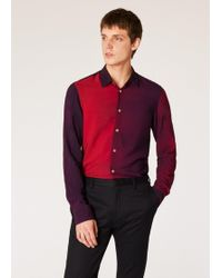 Paul Smith - Slim-Fit Red Gradient Colour-Block Wool-Blend Shirt - Lyst