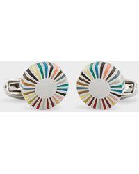 Paul Smith Multi-coloured Stripe Edge Circular Cufflinks - Multicolour