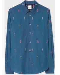 Paul Smith - Slim-fit Navy Embroidered 'people' Motif Shirt - Lyst