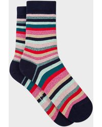 Paul Smith - Navy And Glitter 'Swirl Stripe' Socks - Lyst