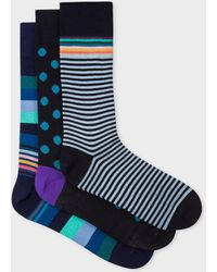 81cc2b320e5f Lyst - Paul Smith Men's Navy And Red Two Stripe Socks in Blue for Men