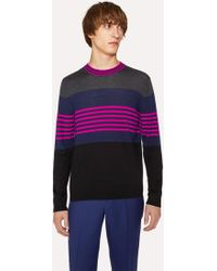 Paul Smith - Colour-Block Striped Merino-Wool Sweater - Lyst