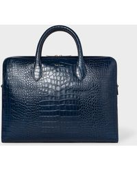 Paul Smith - Blue 'Bright Stripe' Mock-Croc Leather Business Folio - Lyst
