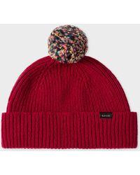 574f0af0c2bfa3 Paul Smith Navy Pom-pom Wool Beanie Hat in Blue for Men - Save 49 ...