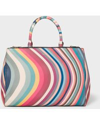 Paul Smith - 'spring Swirl' Print Leather Tote Bag - Lyst