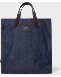 Paul Smith - Indigo Denim Tote Bag With Multi-coloured Stitching - Lyst