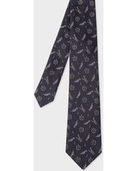 Paul Smith - Dark Navy Embroidered 'Musical Instrument' Silk Tie - Lyst
