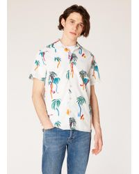 Paul Smith - Classic-Fit White Large 'Palm Tree' Print Short-Sleeve Shirt - Lyst