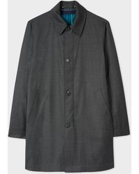 Paul Smith - Dark Grey Houndstooth Loro Piana Storm System® Wool Mac With Detachable Liner - Lyst