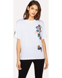 Paul Smith - Women's White 'badges' Print T-shirt With Removable Pin Badges - Lyst
