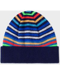 Paul Smith - Navy Striped Wool Beanie Hat - Lyst
