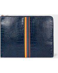 Paul Smith - Blue 'Bright Stripe' Mock-Croc Leather Document Pouch - Lyst