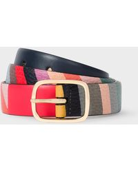 Paul Smith - Striped Leather Belt With 'Swirl' Print - Lyst