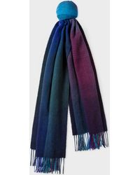 Paul Smith - Navy Gradient Lambswool Scarf - Lyst