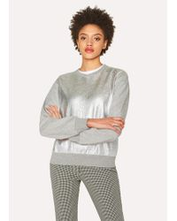 Paul Smith - Grey Sweatshirt With Metallic Front - Lyst