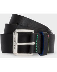 Paul Smith - Black Leather Belt With 'sports Stripe' Details - Lyst
