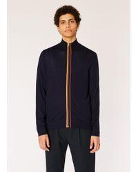 Paul Smith - Dark Navy Merino Wool 'artist Stripe' Zip-through Cardigan - Lyst