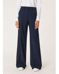 Paul Smith - Navy Wool-Blend Wide Leg Trousers - Lyst