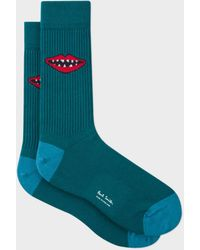 Paul Smith | Men's Petrol Green 'Lips' Jacquard Socks | Lyst