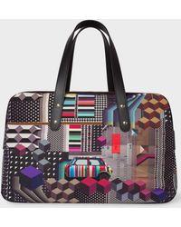 Paul Smith | Men's Black 'Geometric Mini' Print Canvas Weekend Bag | Lyst