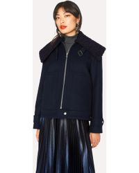 Paul Smith - Navy Wool-Blend Jacket With Bouclé Collar - Lyst