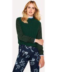Paul Smith - Dark Green Ribbed Wool-Blend Sweater - Lyst